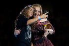 Teagan scores a selfie with Adele during her Mt Smart Show in Auckland last night. Photo/Getty