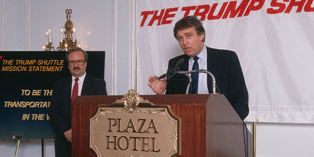 Donald Trump at the launch of his Trump Shuttle airline in 1989. Photo / Getty Images
