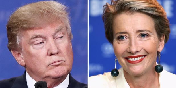 Donald Trump and Emma Thompson. Photos / Getty