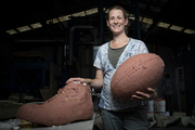 """Artist Natalie Stamilla with part of the Meads' """"work in progress"""". Photo / Greg Bowker"""