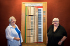 Jane Mason and Anna Finlay Smith with the fundraising keyboard that was used to purchase a Steinway piano for Baycourt Theatre. Photo/supplied