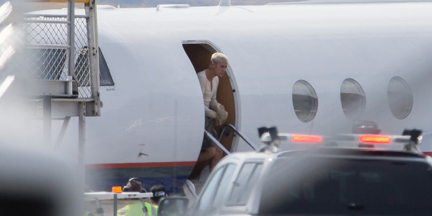 Justin Bieber leaves his jet at Queenstown Airport. Photo / Supplied