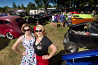 Pin up girls Sarah Bauer (left) and Donna Lavery at the Rebel Round Up held at Arawa Park.  Photo/Ben Fraser