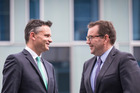 Happy, happy, joy joy - as long as it's within budget. Green Party co-leader James Shaw (left) and Labour Party finance spokesperson Grant Robertson. Photo / Jason Oxenham