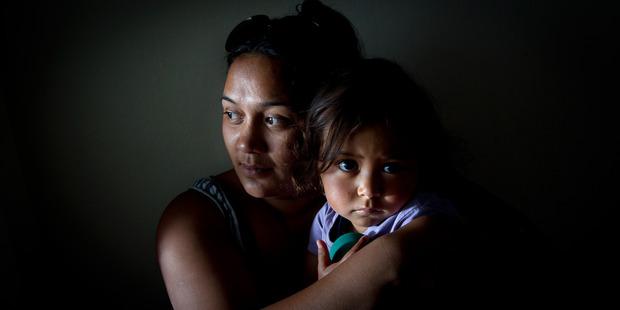 Ashley Wharehinga and her 2-year-old daughter Raiha Wharehinga-Rahurahu. Photo/Stephen Parker