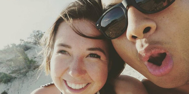Temson Junior Simeki with girlfriend, Leonie Hafke, has been identifed as the Auckland man missing after trying to rescue a tourist in Bali. Photo/ Facebook