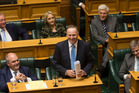 Former Prime Minister John Key bids farewell to his fellow MPs after delivering his valedictory speech. Photo / Mark Mitchell