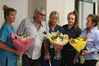 Lance Carter hands over flowers to Tauranga Hospital nursing staff Wendy Gibbs (health care assistant) and registered nurses Maree Crawford and Georgia Park. Photo/John  Borren.