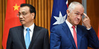 Premier of the State Council of the People's Republic of China Li Keqiang (left) and Australia's Prime Minister Malcolm Turnbull Picture / AAP.