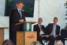 Prime Minister Bill English chats to Red Stag Waipa Mill stalwart Derek Nukunuku. Photo/Ben Fraser