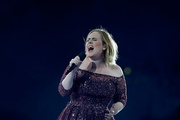 Adele belting it out at Mt Smart Stadium on Thursday. Photo / Phil Walter/ Getty Images