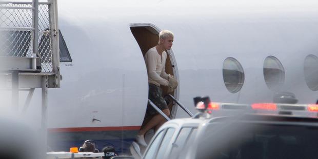 Pop singer Justin Bieber arrives at Queenstown Airport. Photo / Supplied