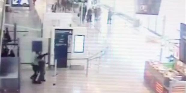 CCTV footage shows Ziyed Ben Belgacem grabbing the soldier. Photo / AP