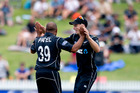 Spinners Jeetan Patel and Mitchell Santner make the most of the lean pickings summer in summer out. PHOTO/NZME.