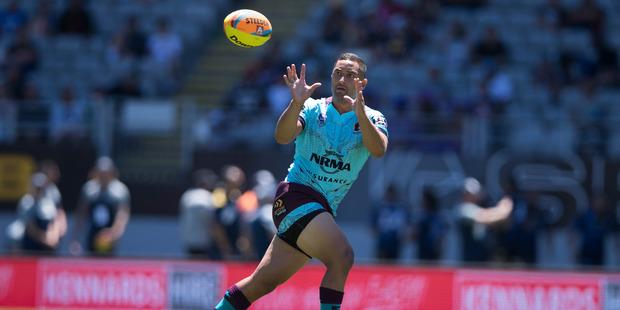 Brisbane Broncos Benji Marshall in action against the Melbourne Storm during NRL Nines. Photo/Brett Phibbs