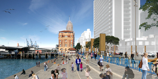 Loading A proposed concept plan for the ferry basin between Captain Cook and Princes wharves to create more public space.