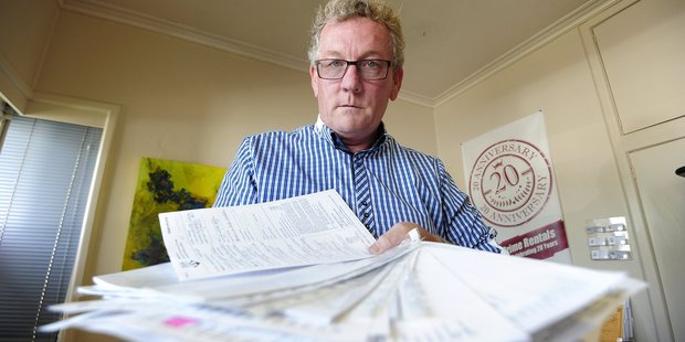 Steve Warburton from Prime Rentals with a stack of application forms. Photo/File