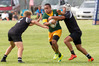 DIRECT RUNNING: Mount Maunganui's Pauliasi Ha'unga takes on two Rangataua defenders in last week's opening round. PHOTO: FILE