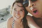 Temson Junior Simeki, known as TJ, pictured with girlfriend Leonie Hafke. Photo / Facebook