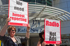 Demonstrators outside RNZ in 2010. Today, funding is still frozen and the building is being sold. Photo / NZPA