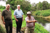 Northland Regional councillor Joe Carr, chairman Bill Shepherd and councillor Dover Samuels visit a stretch of Kerikeri River near the site of a planned spillway last year. PHOTO/PETER DE GRAAF