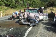 The Clarkes' Buick after it collided with a motorcycle on their way to the Whangamata Beach Hop. Photo/supplied