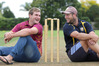 Taradale's South Africa import Dean Foxcroft (left) and Havelock North captain Dave Castle share a joke before today's premier men's 50-over final, rain permitting. PHOTO/Duncan Brown