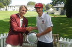 Top Job: Lindisfarne College's 1st XI cricket team captain Oscar Crichton (right) is congratulated by his Scots College counterpart Angus Liddell. Photo/Supplied