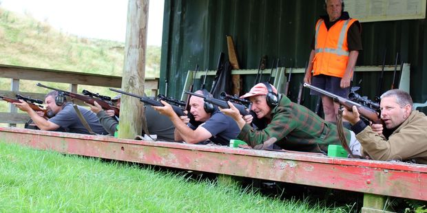 Members of the Horowhenua Hunting Club take aim in this year's K. Aanenson Trophy competition against Kapiti Branch of the NZ Deer Stalkers Association.