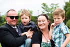 Steve Jayes, 41, died in a car crash caused by American heart surgeon Kenneth Wolnak. Jayes is pictured with sons Cassius and Lennox and partner Monique Hardiman. Photo / Givealittle
