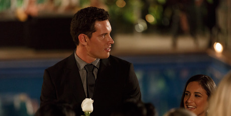 The Bachelor Zac Franich with that white rose. Photo/Three