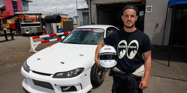 Matt Higham stands in front of his Nissan Silvia S15 after breaking into the top-16. Photo / Supplied