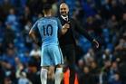 Pep Guardiola congratulates Sergio Aguero after the draw yesterday. Photo/ AP
