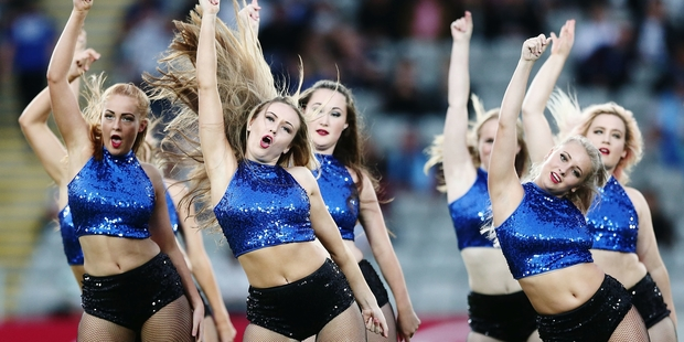 Reintroducing cheerleaders seems a strange way for the Blues to promote diversity.  Photo / Photosport