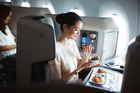 In the business class cabin of a Cathay Pacific A350. Photo / Supplied