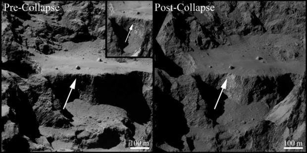 The Aswan cliff on Comet 67P pre-and post-collapse. Photo / ESA, Rosetta, MPS for OSIRIS Team MPS, UPD, LAM, IAA, SSO, INTA, UPM, DASP, IDA.