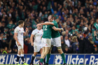 Ireland celebrate victory in Dublin - the Irish are really the second best team in world rugby. Photo / Photosport.