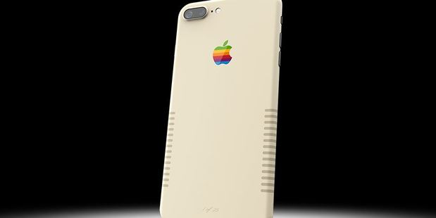 The retro iPhone 7 Plus is inspired by the vintage Apple Macintosh computer and made by ColorWare. Photo / ColorWare