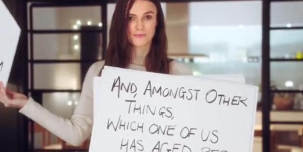 Loading Keira Knightley tosses the cue cards in the trailer.