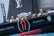 Oracle Team USA lined up against Ben Ainslie Racing in Bermuda today. Photo/Oracle Team USA