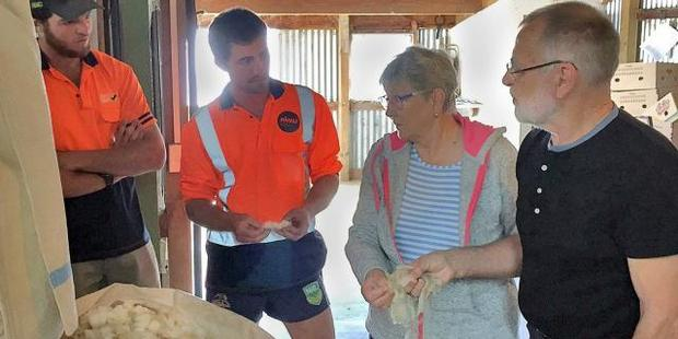 Landcorp employees Peter O'Malley (left) and Mace Lee, from Waipori Station, talk wool with Nanny and Ove Glerup Kristensen. Photo/Richard Brewer