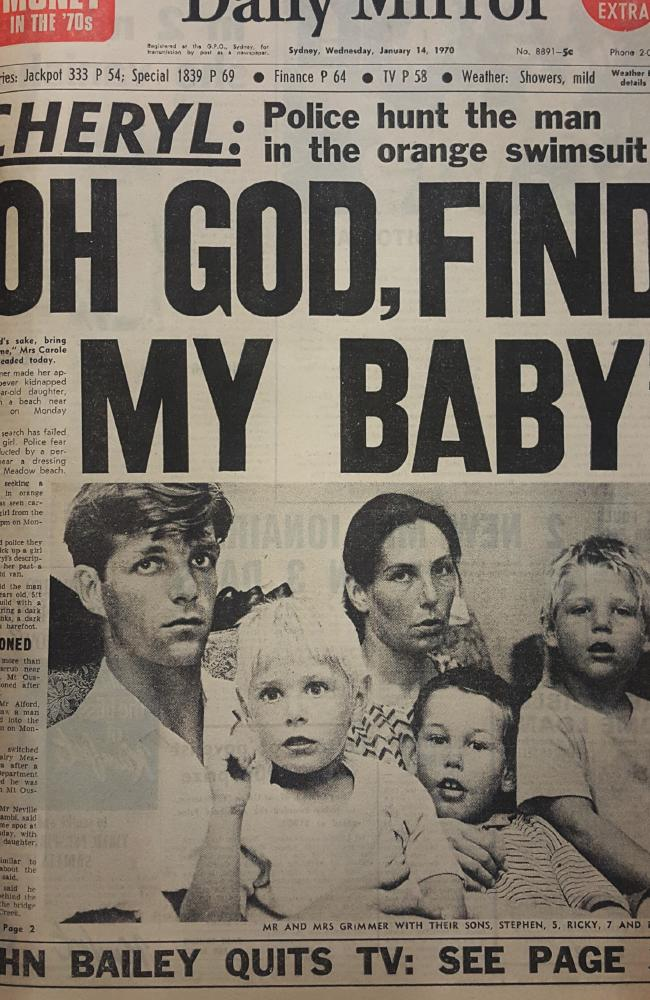 A newspaper front page at the time of Cheryl's death.