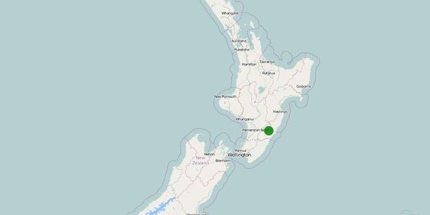 The quake was centred 20 kilometres north-east of Pongaroa, in the lower North Island. Photo / GeoNet