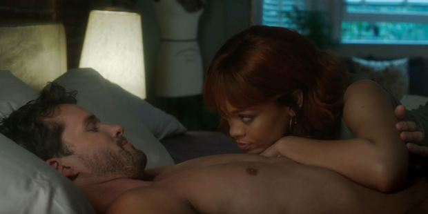 Loading Rihanna said she could not bear to watch her Bates Motel sex scene on Monday. Here she is seen with actor Austin Nichols. Photo / A&E