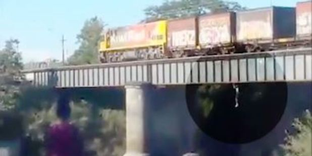 Loading A child has been videoed jumping off a train crossing the Waikato River at Ngaruawahia.