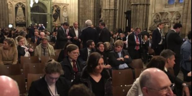 Loading Westminster Abbey was used as a gathering point for members and staff of parliament after the attack today. Photo / Twitter