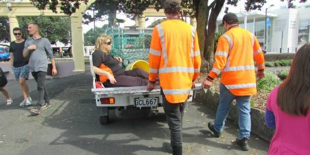 Simone Wright in the back of Napier City Council's work truck after breaking her knee cap along Marine Parade. Photo/Supplied