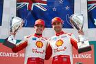 Scott McLaughlin and Fabian Coulthard celebrate a 1-2 finish in Melbourne. Photo / Mark Horsburgh