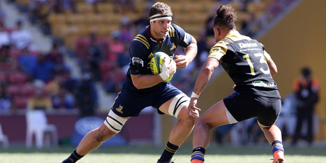 Luke Whitelock's workrate for the Highlanders was crucial in getting them home against the Brumbies in Canberra. Photo / Photosport