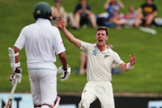 Matt Henry appeals during day one of the third test match between the Black Caps and South Africa at Seddon Park in Hamilton yesterday. Photo / Photosport.